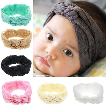 Kids Soft Lace material Bow Knot Elastic Headband Beautiful and Comfortable Newborn Hair Accessories Bands W204