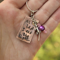 Princess Rapunzel Inspired At Last I See the Light From Disney quote song with beads and Pascal Charm