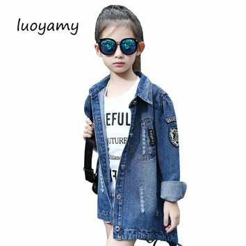 luoyamy Autumn Winter Girls Kids Long Turn-down Collar Tie Letter Denim Jacket Feminine Children's Coat Cowboy Jackets