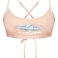 Lucienne Pink Planet Applique Metallic Harness Crop Top