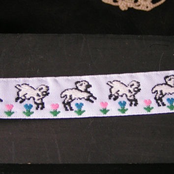 Sheep Jumping over the tulips, Wide Jacquard Ribbon. White Lambs over bright pink and blue tulips.