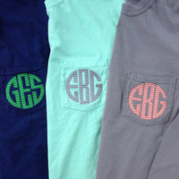 Chevron Monogrammed Comfort Colors Short Sleeve Pocket Tee