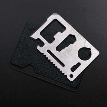 11 in 1 Stainless Steel Credit Card Wallet Tool Survival Pocket Tool Tactical Multitool Card Multi Purpose Knife Camping Tools