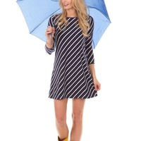 Duffield Lane Kendall Dress in Navy Stripes