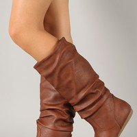 Bank-31 Slouchy Round Toe Knee High Flat Boot