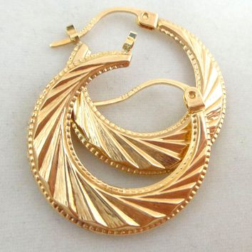 Estate 14K Gold Dynamic Geometric Hoop Earrings