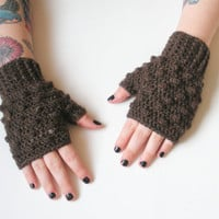 Mink Brown Fingerless Crochet Wrist Warmer Gloves, Wristlets, ready to ship.