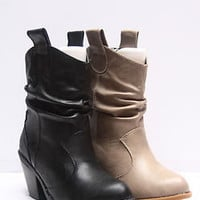 Women's Fashion Western Cowboy Slouchy Mid-Calf  Black Beige Boot Shoes 5-10 NEW