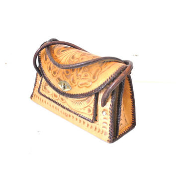 vintage 1950s TOOLED leather purse MID CENTURY 50s boho Mexican structured carved hand bag