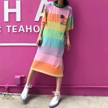 """Champion"" Loose Casual Multicolor Rainbow Stripe Cartoon Letter Print Short Sleeve T-shirt Dress"
