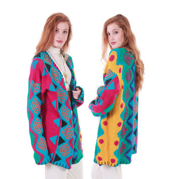 80s Vintage Knit Cardigan Colorful Abstract Slouchy Overized Duster Retro Hipster Zig Zag Novelty Long Sweater Women Size Large