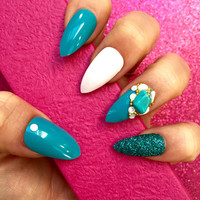 Luxury Hand Painted False Nails. Stiletto 3D turquoise stone Nails. 24 Nail Set.