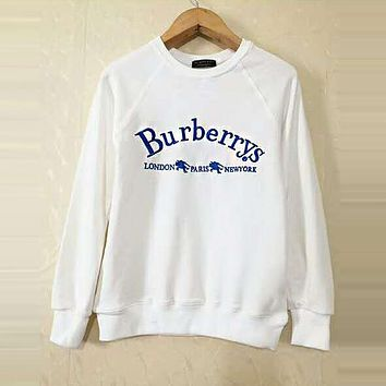 BURBERRY Classic Popular Women Men Leisure Embroidery Sweater Top Sweatshirt White