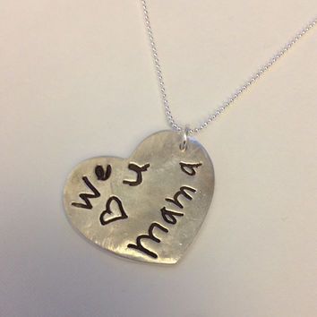 Memorial Jewelry-Large SIze Heart Shaped Pendant or Key Tag - Interactive Silver