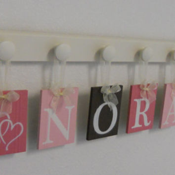 Childrens Personalized Decor Name Signs Includes Linen White 6 Peg Hooks and Name NORA with HEARTS Pinks / Green Baby Girls Room Wall Decor