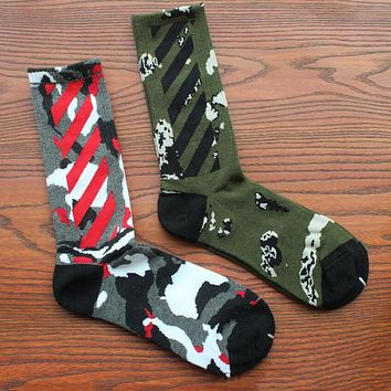 Fashion personality camouflage hip hop skateboard sock long tube cotton socks 2 pairs