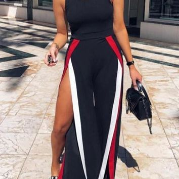 Black Striped Print Cut Out Thigh High Side Slits Shoulder-Strap High Waisted Long Jumpsuit
