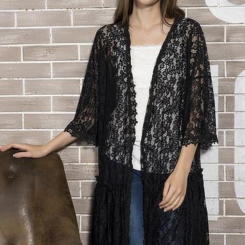 Lace Duster Cardigan - Black