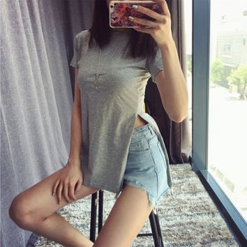 Street beat Grey sexy long section of loose wild side slit long T-shirt
