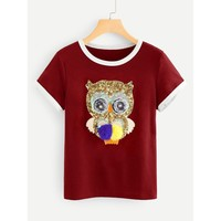 Sequin Owl Ringer T-shirt Burgundy