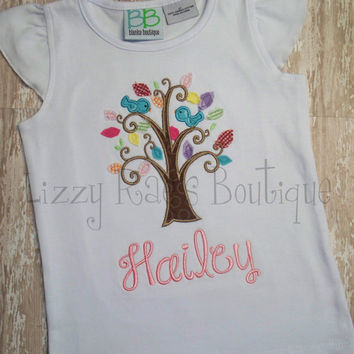 Bird applique shirt- Summer applique shirt- Blue bird tree applique shirt