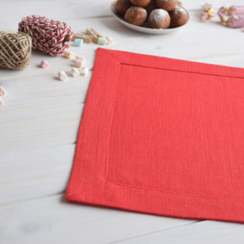 Red linen placemat, linen placemat, table placemat, table mat, dinning placemats, Christmas placemat, Eastern placemat, Wedding placemat