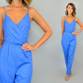 CORNFLOWER BLUE vtg 80s draped sleeveless JUMPSUIT romper Onesuit, small