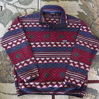 PATAGONIA Indian Aztec Print SNAP-T Fleece Pullover Large Cool Navajo Design!!