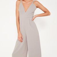 Missguided - Grey Double Strap Plunge Culotte Jumpsuit