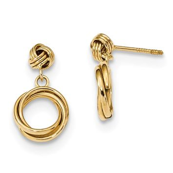 14K Yellow Gold Madi K Polished Love Knot with Small Fancy Dangle Post Earrings