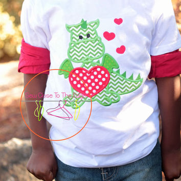 ORIGINAL - Custom Boys Valentine's Day Heart Dragon T-Shirt - Personalized - Applique Shirt - Toddler - Youth - Valentine Top