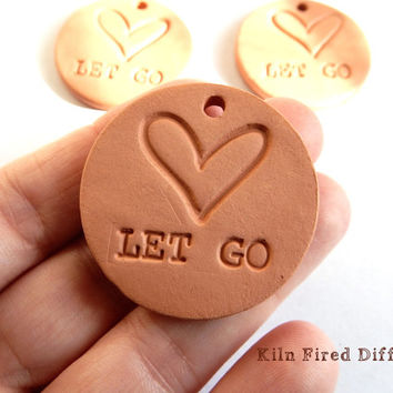 Let Go, Inspirational Yoga Pendant, Aromatherapy Essential Scented Oil Diffuser, Round Terracotta Bisque Ceramics Unglazed,