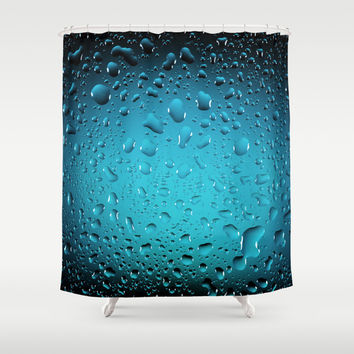 Stylish Cool Blue water drops Shower Curtain by PLdesign