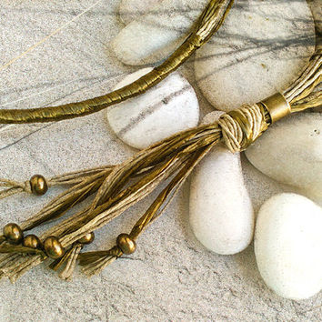 Long boho beaded necklace, Long multi strand fringe tassel necklace pendant, Chic gold tone fiber necklace, Handmade boho jewelry gift women