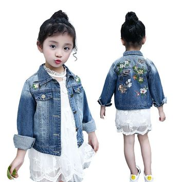 Trendy Girls Coats Kids Denim Jackets For Girls Jeans Outerwear Embroidered Flower Coats Spring Autumn Denim Tops 2 4 6 8 9 10 12 Years AT_94_13