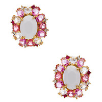 Kate Spade Garden Bed Gems Statement Studs Pink Multi ONE