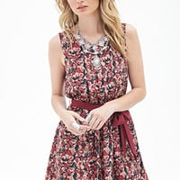 LOVE 21 Pleated Rose Print Dress Black/Tan