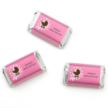 Girl Baby Carriage - Personalized Baby Shower Mini Candy Bar Wrapper Favors - 20 ct