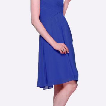 Short Bridesmaid Royal Blue Dress Knee Length Pleated Bodice