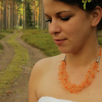 Orange fall necklace Autumn wedding Multistrand airy necklace Beadwork Gift for her Beaded Halloween Jewelry Ready to ship