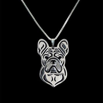 New  Unique Romantic Gold Silver Color French Bulldog jewelry  Pendant Necklace Hunger Games Necklace Women Best Friend Choker