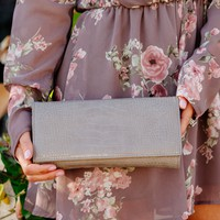 Primrose Snakeskin Clutch in Grey