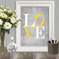 Love print Yellow gray love printable Nursery love print Canvas art Nursery wall art decor Kids bedroom decor 5x7, 8x10 INSTANT DOWNLOAD