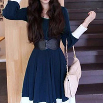 Blue Buttoned Cuff Sleeve Pleated Midi Dress