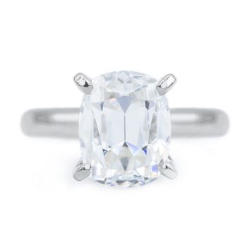 **NEW** Elongated Cushion Old Mine Cut (OMC) Heirloom Moissanite 4 Prongs FANCY Solitaire Ring