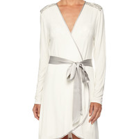 Autumn Bride Lace Short Robe, Ivory/Silver, Size: