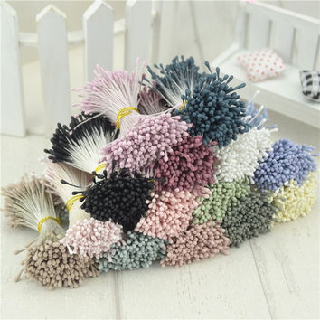 410pcs 1mm Matte Double Heads Mini Flower Stamen Pistil Wedding Decoration Scrapbooking DIY Artificial Pearl Cards Cakes Flowers