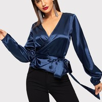 Satin Wrap Top With Belt