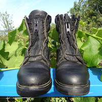 Vintage Red Wing Combat Boots Size 7US Mens size 8.5US Womens Front Zip Black Motorcycle Boots, Biker Boots