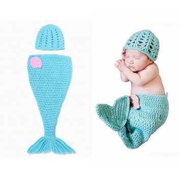 Handmade Boys Infant Newborn Outfits Clothing Sets Knitted cap Photography props Fish Costume Crochet sets
